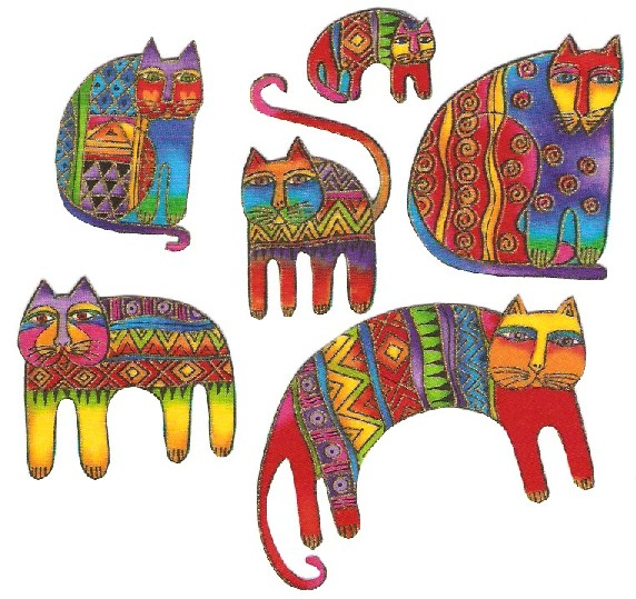 LB Felines /Bright Cats - Iron On Fabric Appliques