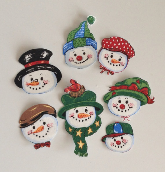 Little Snowman Faces - Iron On Fabric Appliques