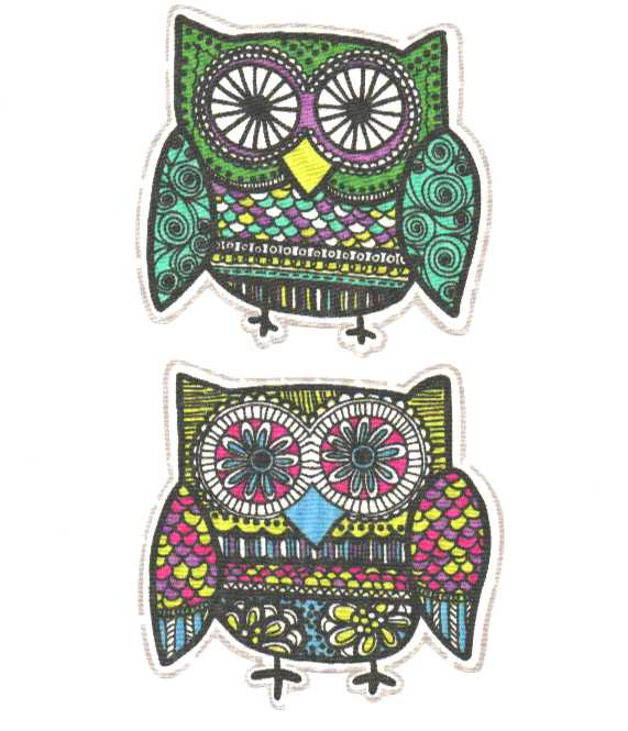 Fancy Owls - Iron On Fabric Appliques