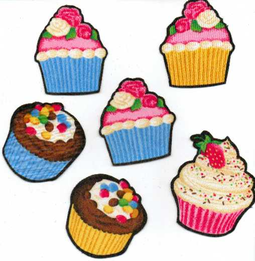 Small Cupcakes - Iron On Fabric Appliques